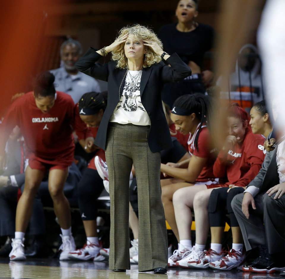 Photo - Oklahoma coach Sherri Coale reacts after Oklahoma tied the game late in a women's Bedlam college basketball game between the Oklahoma State University Cowgirls (OSU) and the University of Oklahoma Sooners (OU) at Gallagher-Iba Arena in Stillwater, Okla., Wednesday, Jan. 8, 2020. [Bryan Terry/The Oklahoman]