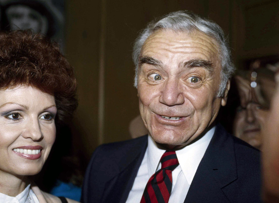Photo - FILE - In this Sept. 13, 1983, file photo, actor Ernest Borgnine and his wife, Tova, attend NBC's Laugh-in party in Los Angeles.  A spokesman said Sunday, July 8, 2012, that Borgnine has died at the age of 95. (AP Photo/Doug Pizac, File) ORG XMIT: NY806