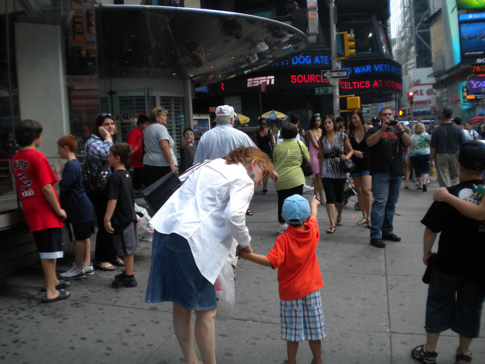 Gwennie and Hunter explore Times Square