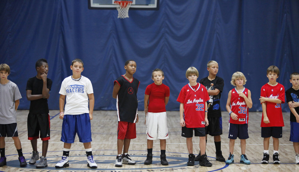 Campers watch a drill during Blake Griffin's basketball camp in Oklahoma City,  August 02, 2011. Photo by Steve Gooch