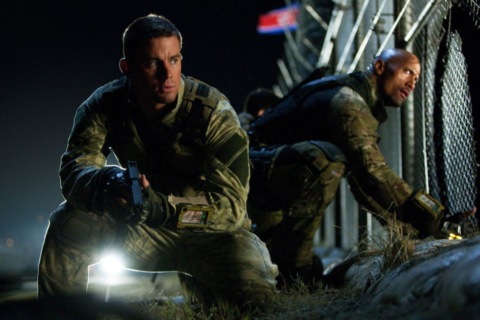 "Channing Tatum, left, as Duke and Dwayne Johnson as Roadblock in a scene from ""G.I. Joe: Retaliation."" PARAMOUNT PICTURES PHOTO"