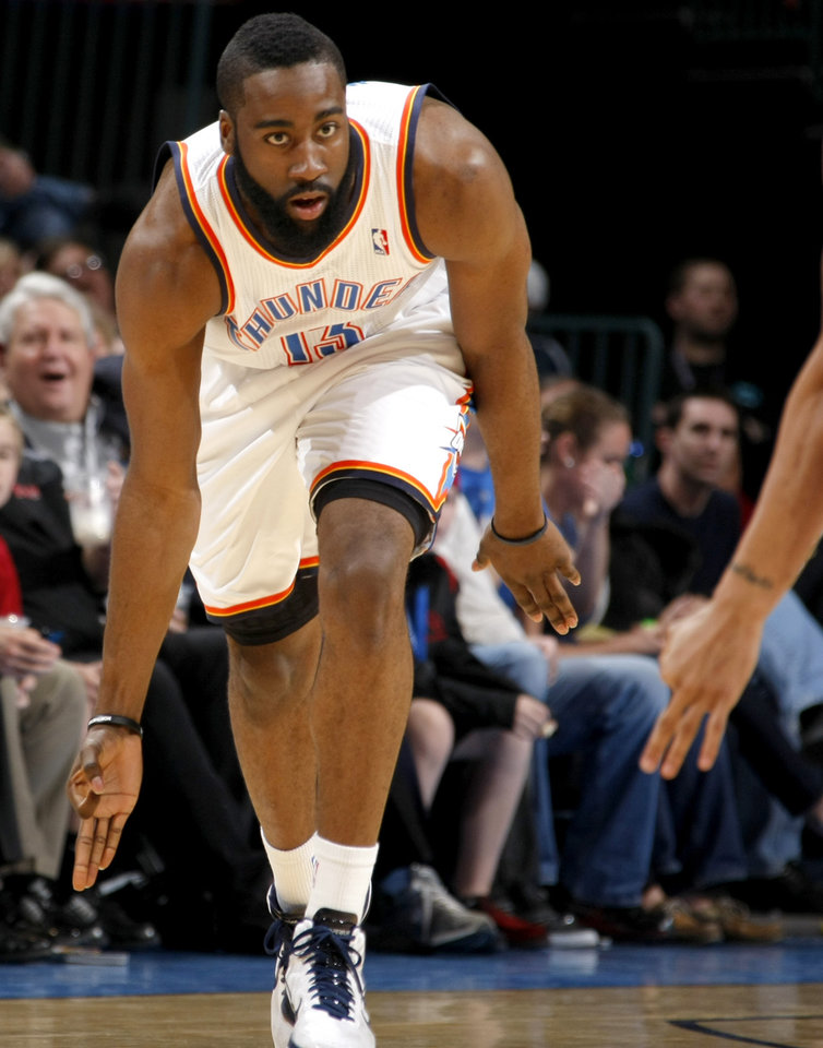 Oklahoma City's James Harden (13) celbrates after a three-point basket during the NBA basketball game between the Oklahoma City Thunder and the Los Angeles Clippers at the Oklahoma CIty Arena, Tuesday, Feb. 22, 2011.  Photo by Bryan Terry, The Oklahoman