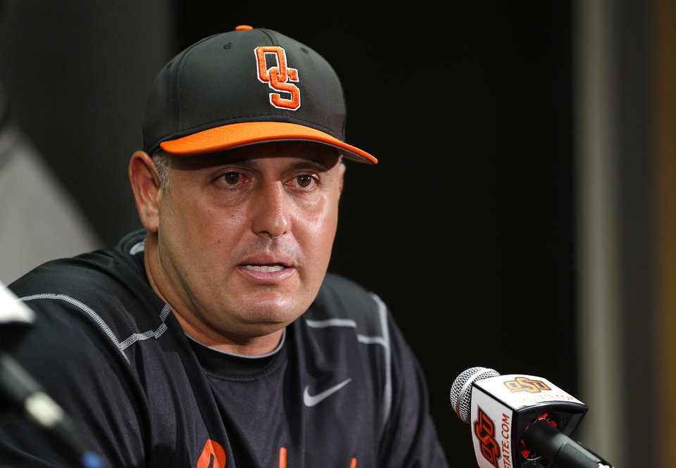 Photo -                    OSU coach Josh Holliday talks about OSU's upcoming NCAA Super Regional matchup against UC Irvine duruing a news conference on Tuesday.                                                                             Photo by Bryan Terry, The Oklahoman
