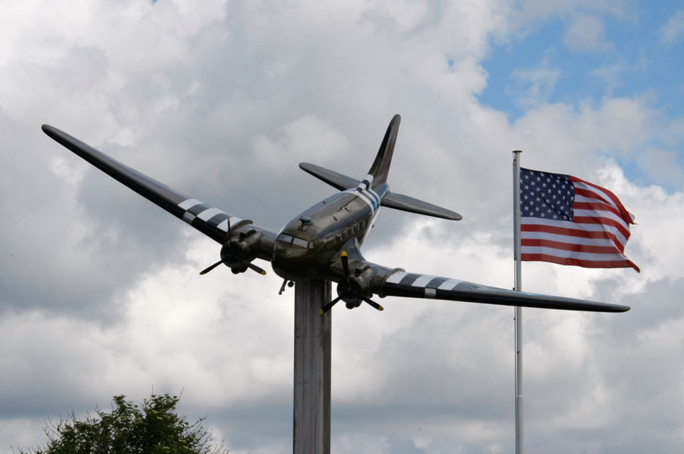 Photo - View of the Memorial in homage  of airborne and US Air Force, in Picauville, France, Thursday, June 5, 2014. World leaders and veterans prepare to mark the 70th anniversary of the invasion this week in Normandy. (AP Photo/Claude Paris)