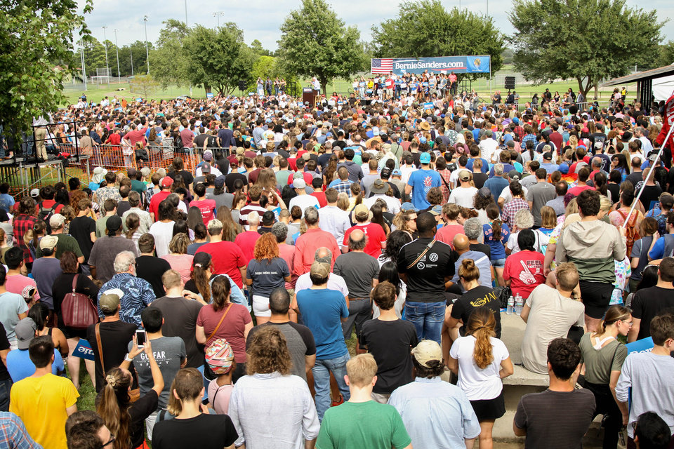 Photo - The crowd at the Bernie Sanders rally at Reaves Park in Norman, Oklahoma Sept. 22, 2019. [Paxson Haws/The Oklahoman]