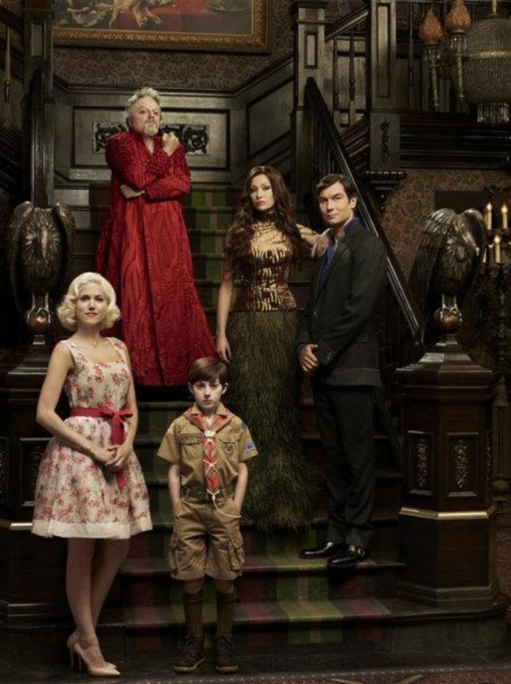 Photo -  MOCKINGBIRD LANE -- Pilot -- Pictured: (l-r) Charity Wakefield as Marilyn, Eddie Izzard as Grandpa, Mason Cook as Eddie Munster, Portia De Rossi as Lily Munster, Jerry O'Connell as Herman Munster -- (Photo by: Gavin Bond/NBC)