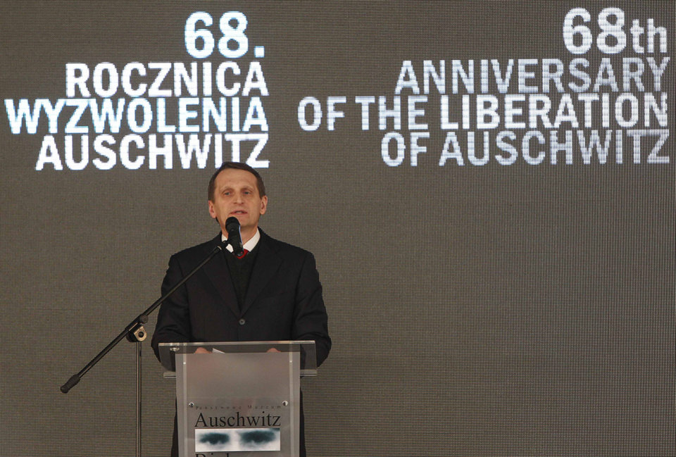 Photo - Sergey Naryshkin, Speaker of the Russian Duma, attends the opening of a Russian exhibition at the Auschwitz concentration camp Oswiecim, Poland, Sunday, Jan. 27, 2013. The ceremony is marking the 68th anniversary of the liberation of Auschwitz by Soviet troops and to remember the victims of the Holocaust. (AP Photo/Czarek Sokolowski)
