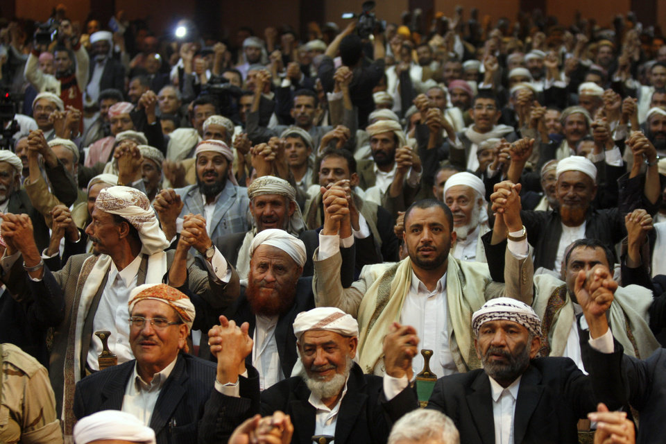 Yemeni tribesmen gesture as they chant slogans during a first meeting by Yemeni tribal coalition to discuss their role in a national dialogue which is set to be held in November, to address political, security and economic challenges the country faces in Sanaa, Yemen, Saturday, Oct. 6, 2012. (AP Photo/Hani Mohammed)