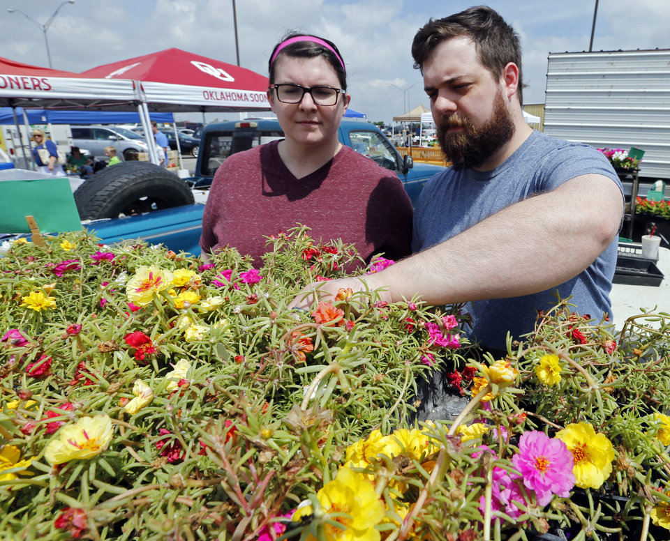 Photo -  Angela and Peter Steinle  look for ornamental flowers at the Norman Farm Market at the Cleveland County Fairgrounds. PHOTO BY STEVE SISNEY, THE OKLAHOMAN   STEVE SISNEY -