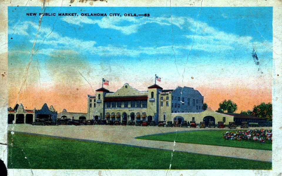 Farmers' Public Market, as shown in this earlyday postcard, was the only place where produce sales were allowed in Oklahoma City when it first opened. <strong>Oklahoman archives</strong>