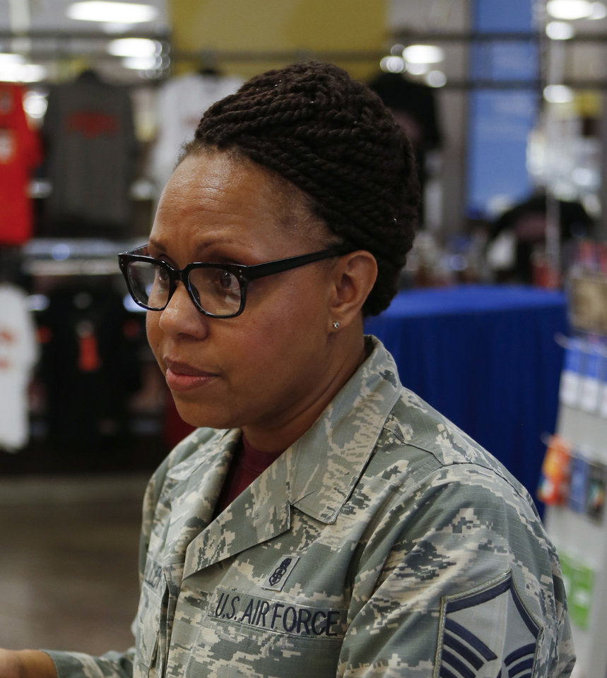 Photo -  Nonika Allen, an E7 master sergeant in the Air Force, said she likes to shop at the Tinker Air Force Base Exchange because of all the deals and savings. [Photo by Jacob Derichsweiler, The Oklahoman]