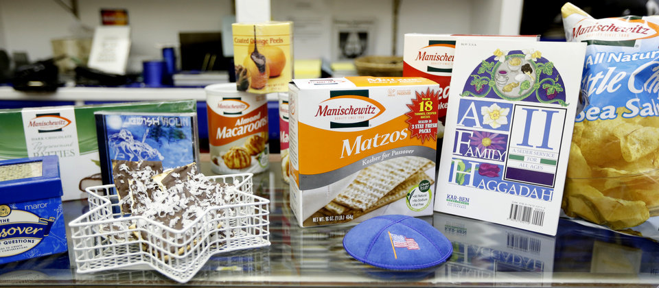 Photo - Above:  An assortment of Passover-related items is displayed in the gift shop at Emanuel Synagogue in Oklahoma City.  Steve Gooch