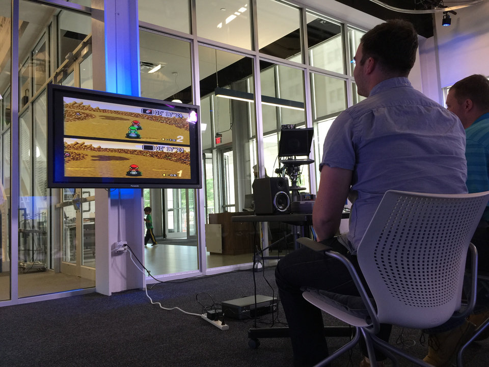 Photo -  The Oklahoman's Big Screen Mario Kart tournament on May 15, 2015.