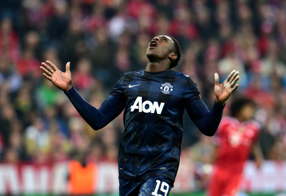 Photo - Manchester United's Danny Welbeck looks up during the Champions League quarterfinal second leg soccer match between Bayern Munich and Manchester United in the Allianz Arena in Munich, Germany, Wednesday, April 9, 2014. (AP Photo/Kerstin Joensson)