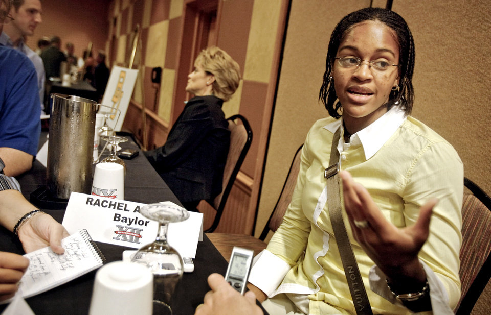 Photo - Baylor University's Jhasmin Player talks to the press during the Big 12 Women's Basketball Media Day at the Cox Convention Center on Wednesday, Oct. 22, 2008, in Oklahoma City, Okla.   BY CHRIS LANDSBERGER, THE OKLAHOMAN  ORG XMIT: KOD