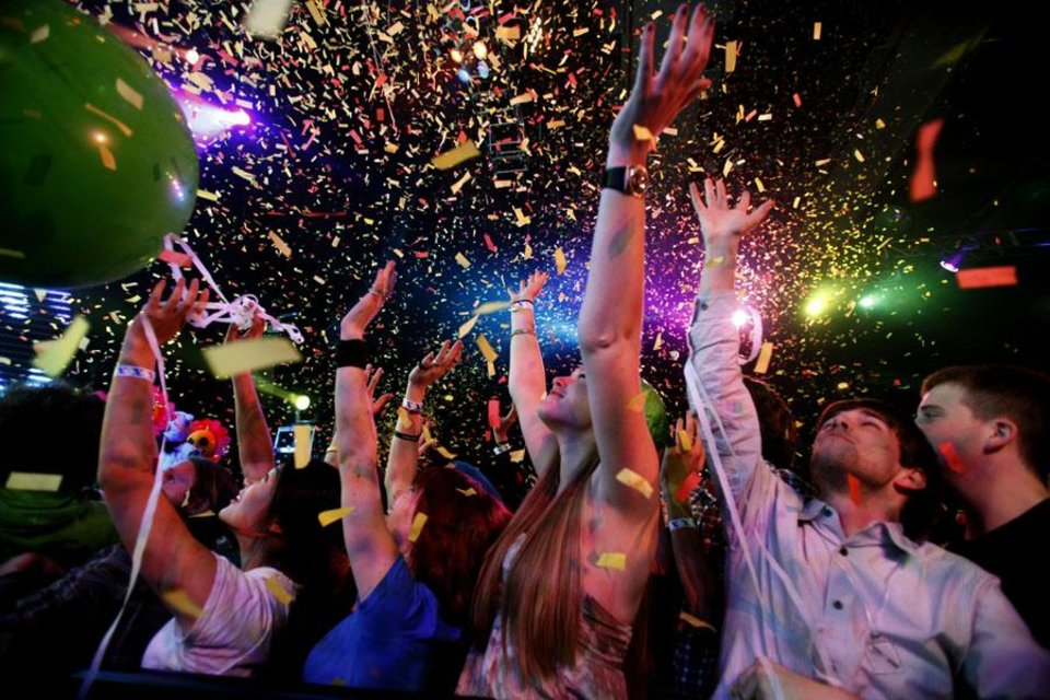 Photo -  Fans cheer during the Flaming Lips New Year's Eve Freakout at the Cox Convention Center, Friday, Dec. 31, 2010, in Oklahoma City. Photo by Sarah Phipps, The Oklahoman ORG XMIT: KOD