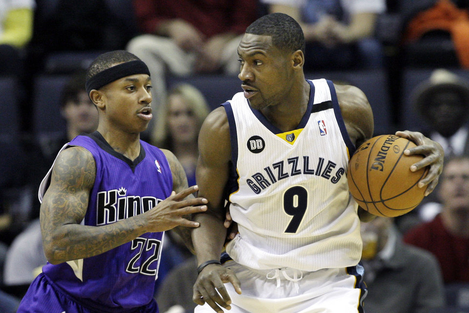 Memphis Grizzlies\' Tony Allen (9) is pressured by Sacramento Kings\' Isaiah Thomas (22) during the first half of an NBA basketball game in Memphis, Tenn., Friday, Jan. 18, 2013. (AP Photo/Danny Johnston)
