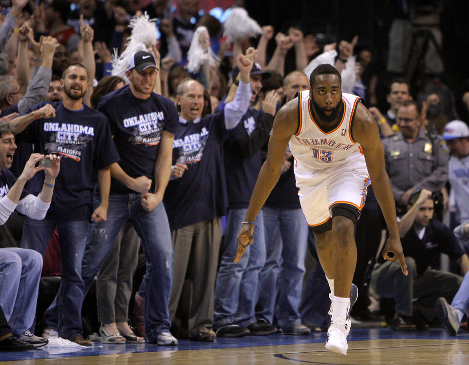 Photo - Oklahoma City's James Harden (13) reacts after a basket late in the fourth quarter during the NBA basketball game between the Denver Nuggets and the Oklahoma City Thunder in the first round of the NBA playoffs at the Oklahoma City Arena, Wednesday, April 27, 2011. Photo by Bryan Terry, The Oklahoman