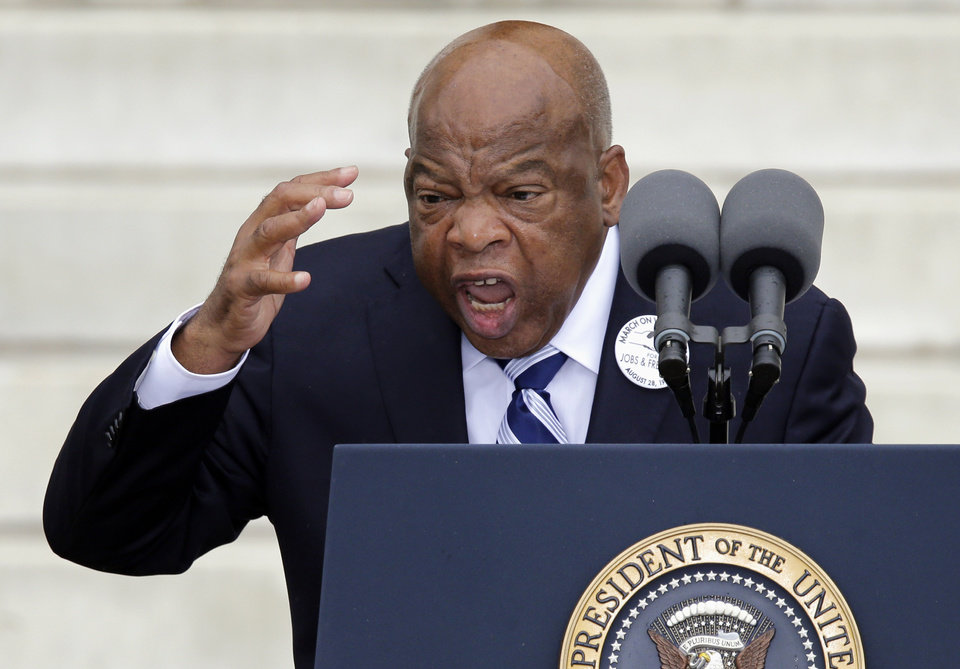 "Rep, John Lewis, D-Ga. speaks at the Let Freedom Ring ceremony at the Lincoln Memorial in Washington, Wednesday, Aug. 28, 2013, to commemorate the 50th anniversary of the 1963 March on Washington for Jobs and Freedom. It was 50 years ago today when Martin Luther King Jr. delivered his ""I Have a Dream"" speech from the steps of the memorial. (AP Photo/Carolyn Kaster)"
