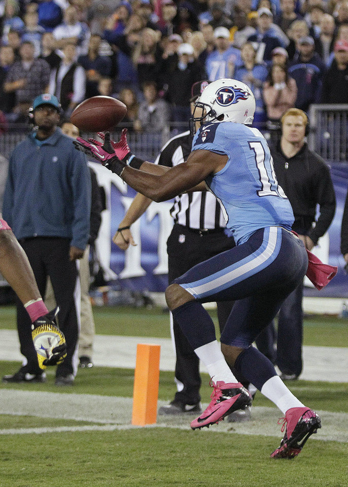 Tennessee Titans wide receiver Kenny Britt hauls in a touchdown reception during the second half of the Titans\' NFL football game against the Pittsburgh Steelers on Thursday, Oct. 11, 2012, in Nashville, Tenn. (AP Photo/Wade Payne)