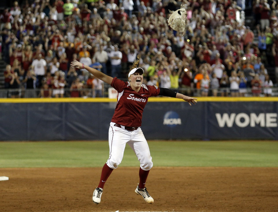 Oklahoma's Michelle Gascoigne (32) celebrates the Sooner's championship during Women's College World Series softball game between Oklahoma and Tennessee at ASA Hall of Fame Stadium in Oklahoma City,Tuesday, June, 4, 2013. Photo by Sarah Phipps, The Oklahoman