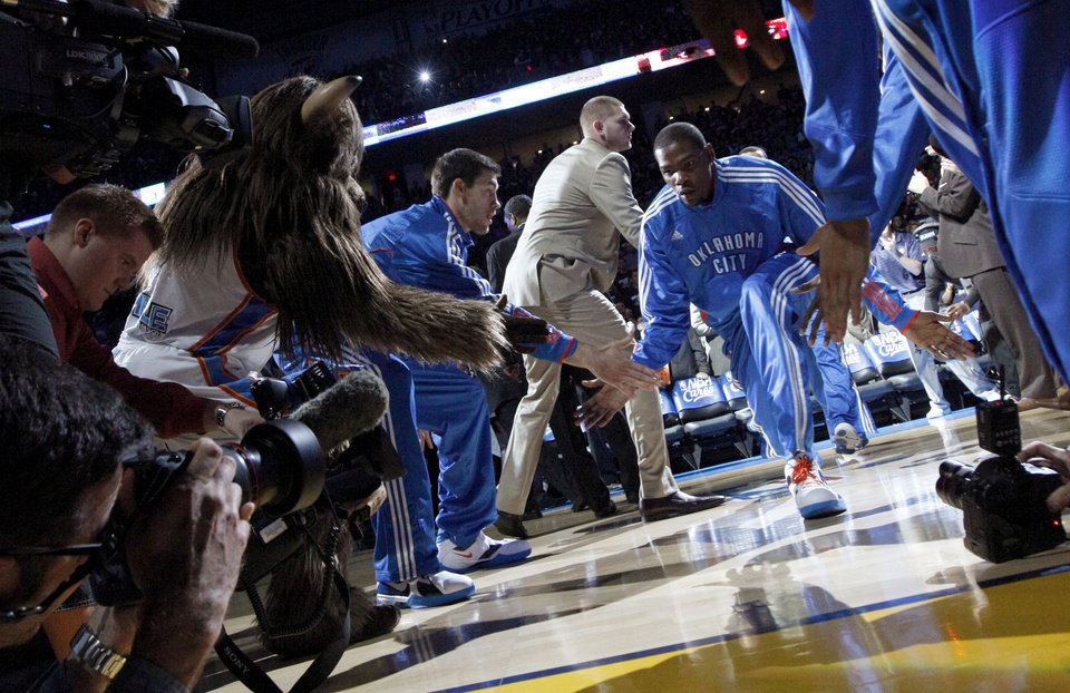 Oklahoma City's Kevin Durant (35) is introduced before the NBA basketball game between the Denver Nuggets and the Oklahoma City Thunder in the first round of the NBA playoffs at the Oklahoma City Arena, Wednesday, April 27, 2011. Photo by Bryan Terry, The Oklahoman