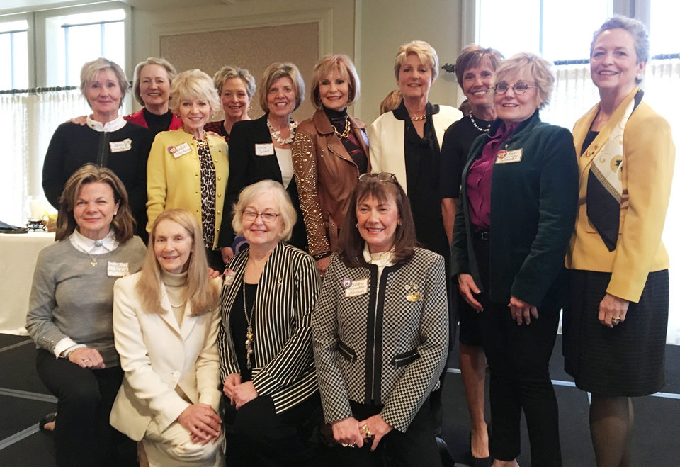 Photo - Terry Sinclair, Jane Humphreys, Caroline McKnight, Margie Calvert, Vicki Rippeto, Helen Dailey, Pam Twidwell, Lee Ann Blood, Dinah McClymonds. Back; Myrla Mendenhall, Carol Ackright, Sky Stephens, Caren Stahmer, front. PHOTO BY PENNY MCCALEB