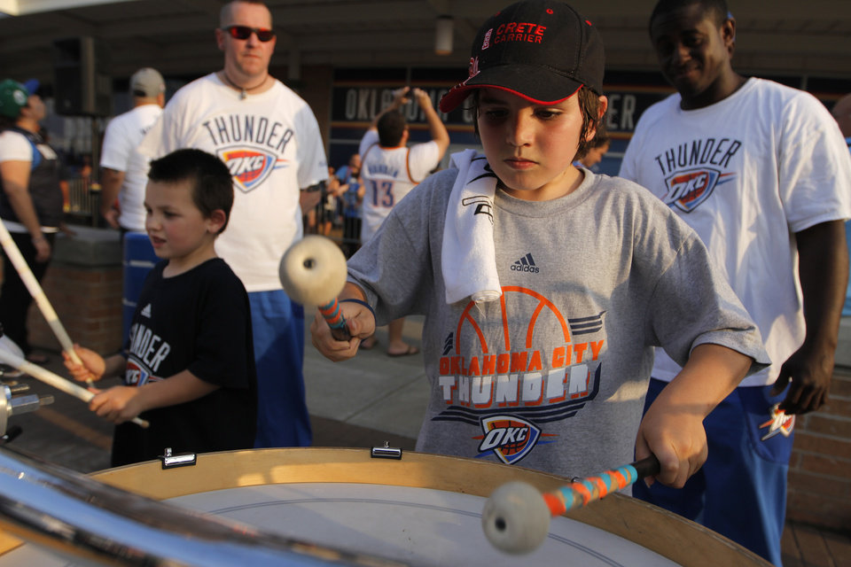 Chris Farrington, 11, of Bethany, plays the drums at Love's Thunder Alley, Monday, April 30, 2012.  Photo by Garett Fisbeck, For The Oklahoman