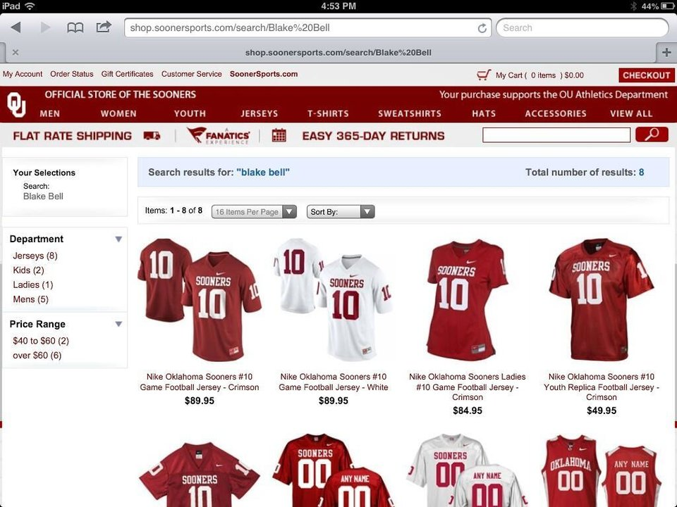 """A search for """"Blake Bell"""" on OU's official team store yields several No. 10 football jerseys for purchase."""