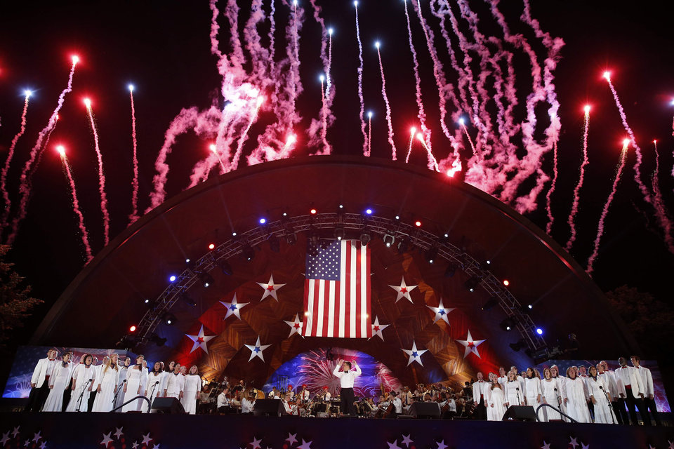 Fireworks burst over the Hatch Shell during the finale of the Boston Pops Fourth of July Concert in Boston, Thursday, July 4, 2013. (AP Photo/Michael Dwyer)