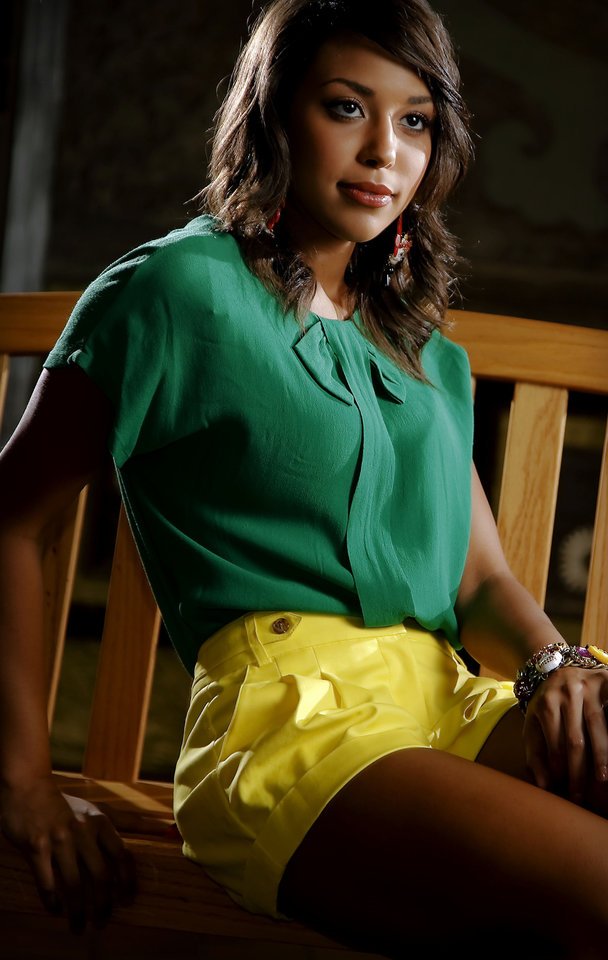 Photo - Vince Camuto yellow cuffed shorts, MM Couture silk bow blouse and Betsey Johnson earrings and necklace, available at Dillard's, Penn Square. Model is Shelley. Makeup by Natasha Emamghoraishi, Sooo Lilly Cosmetics. Photo by Chris Landsberger, The Oklahoman.   CHRIS LANDSBERGER