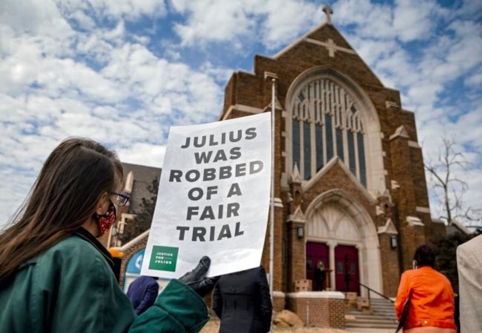 Photo -  In this Feb. 25 photo, supporters gather during a rally and march in effort to show support for the release of Oklahoma death row inmate Julius Jones at Wesley United Methodist Church in Oklahoma City. Supporters marched to the Oklahoma Pardon and Parole Board to deliver a petition and the more than 6 million signatures calling for his release.  [Chris Landsberger/The Oklahoman]
