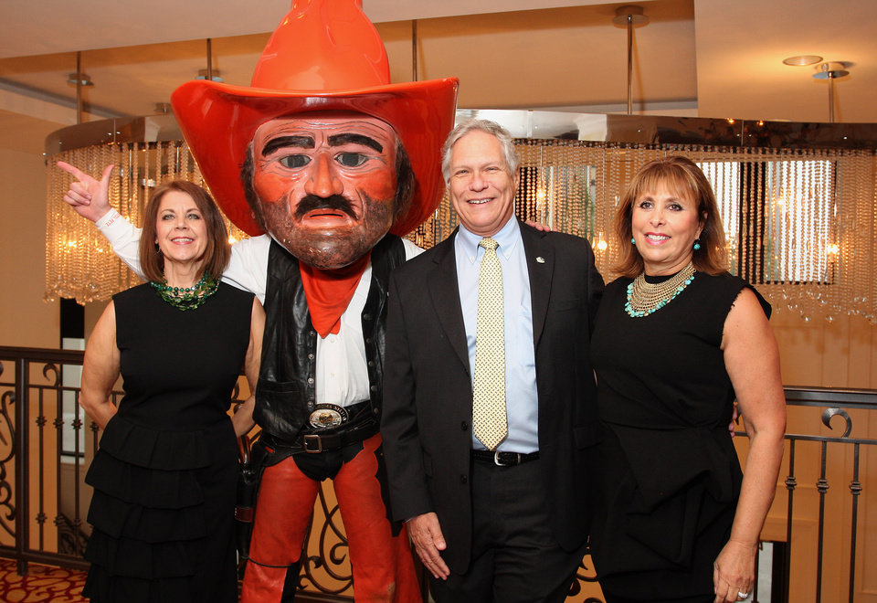 Susan Robertson, Pistol Pete, John Seiler, Edie Roodman. Photo by David Faytinger for the Oklahoman__