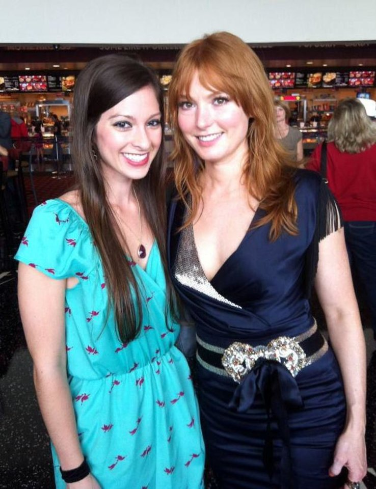 Photo - From left, singer/songwriter/pianist Maggie McClure, who hails from Norman, and musician/actress Alicia Witt appear at the world premiere of
