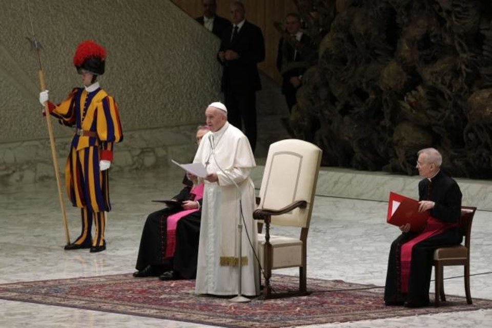 Photo -  Pope Francis delivers his message on the occasion of his Christmas greetings to Vatican employees, in the Pope Paul VI Hall, at the Vatican, Saturday, Dec. 21, 2019. (AP Photo/Andrew Medichini)