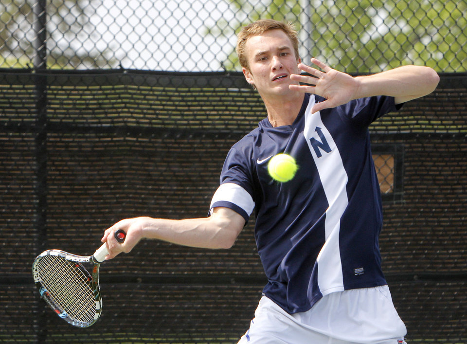 Photo - Edmond North's Nate Roper plays against Stillwater's Noah Smith during the 6A Boy's State Tennis Tournament at the OKC Tennis Club in Oklahoma City, OK, Friday, May 10, 2013,  By Paul Hellstern, The Oklahoman