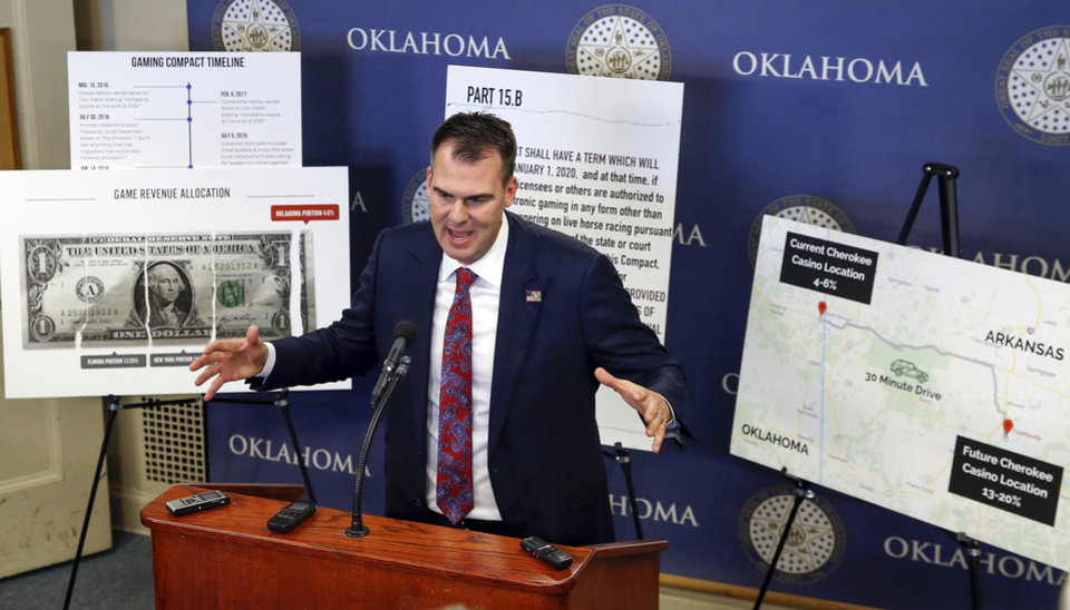 Photo - Gov. Kevin Stitt talks about the state of tribal gaming compact negotiations during a press conference on the fourth floor of the state Capitol in Oklahoma City, Tuesday, Dec. 17, 2019. [Nate Billings/The Oklahoman]