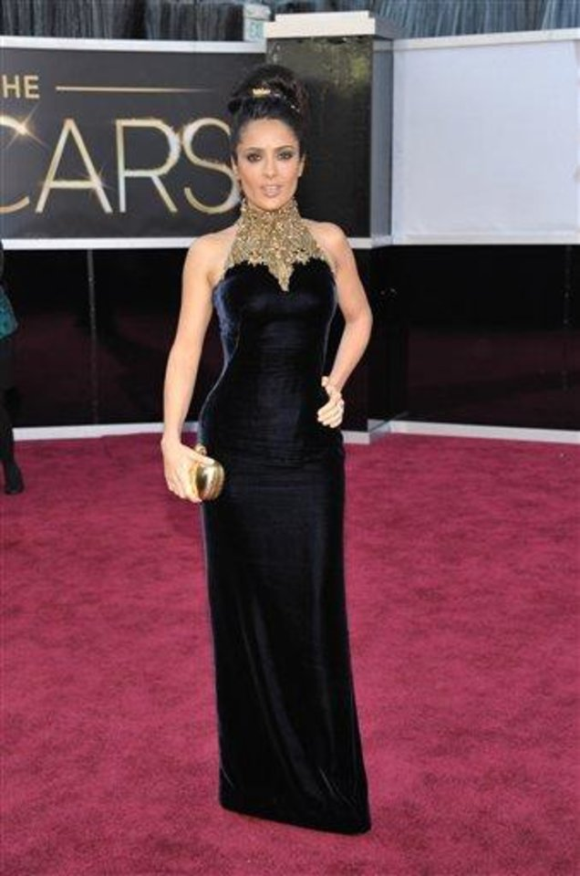 Photo - Actress Salma Hayek arrives at the Oscars at the Dolby Theatre on Sunday Feb. 24, 2013, in Los Angeles. (Photo by John Shearer/Invision/AP)
