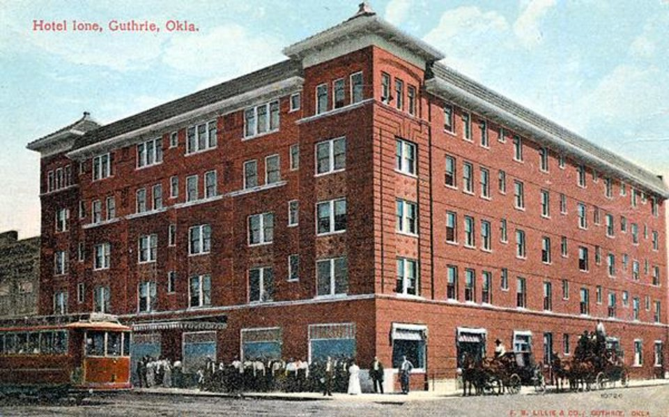 "A postcard view of the old ""Ione"" hotel in downtown Guthrie. Community Photo By: N/A Submitted By: jimmy, guthrie"