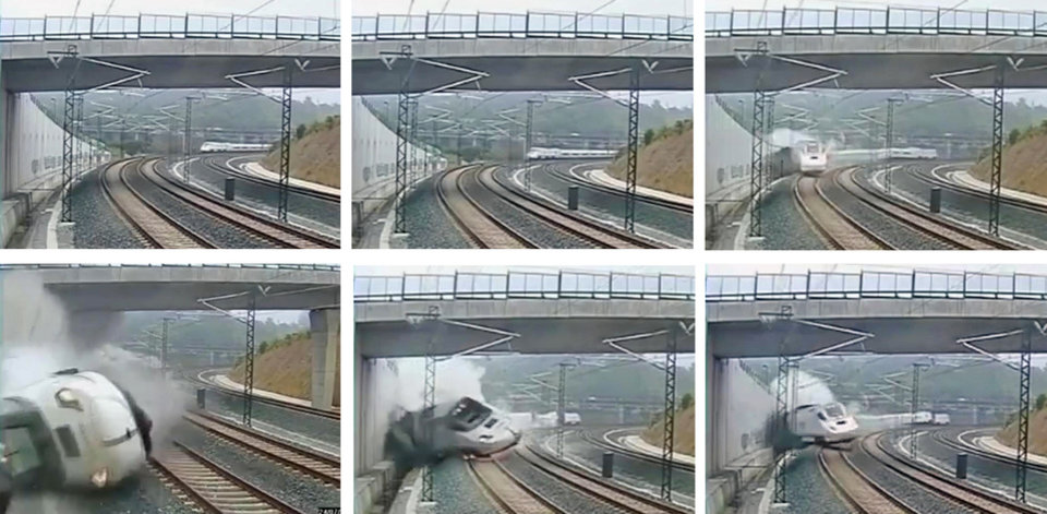 Photo - This combo image taken from security camera video shows clockwise from top left a train derailing in Santiago de Compostela, Spain, on Wednesday July 24, 2013. Spanish investigators tried to determine Thursday why a passenger train jumped the tracks and sent eight cars crashing into each other just before arriving in this northwestern shrine city on the eve of a major Christian religious festival, killing at least 77 people and injuring more than 140. (AP Photo)