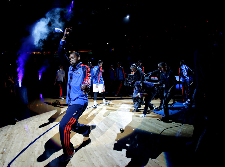 Photo -  Oklahoma City's Kevin Durant is introduced to the crowd before an NBA basketball game between the Oklahoma City Thunder and the Portland Trail Blazers at Chesapeake Energy Arena in Oklahoma City, Tuesday, Jan. 21, 2014. Photo by Bryan Terry, The Oklahoman