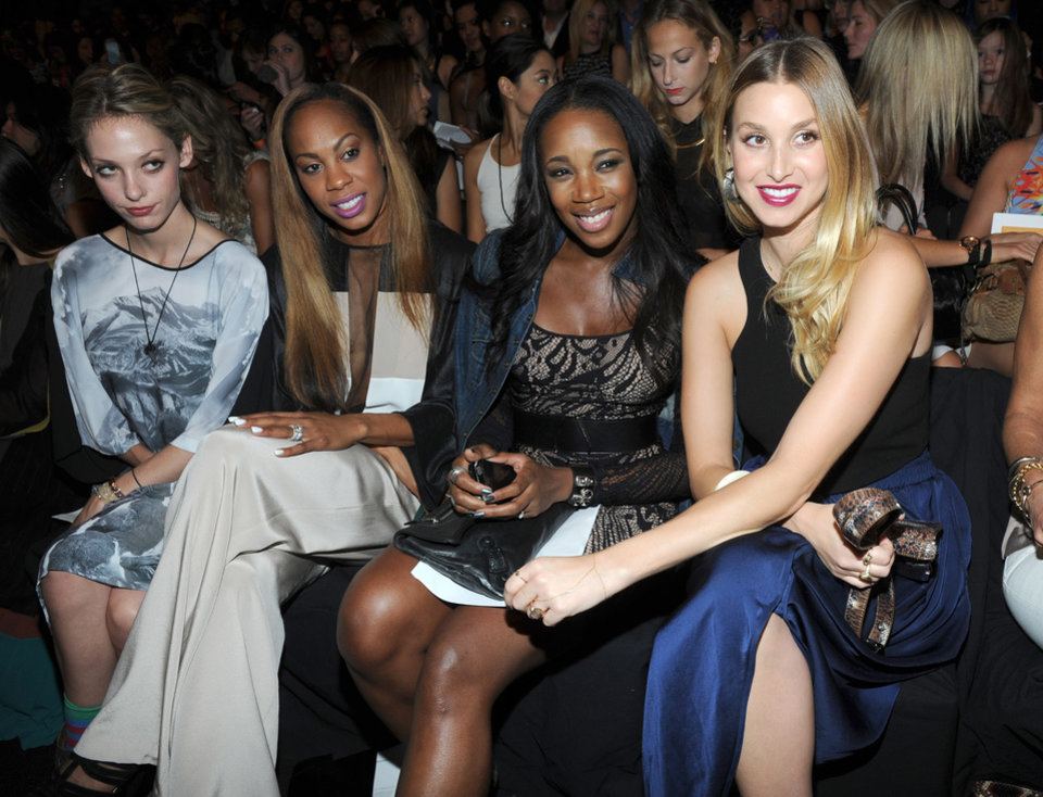 Photo -   Cory Kennedy, from left, Sanya Richards-Ross, DJ Kiss and Whitney Port attend the BCBG MAX AZRIA Spring 2013 show at Fashion Week in New York, Thursday, Sept. 6, 2012. (Photo by Diane Bondareff/Invision/AP Images)