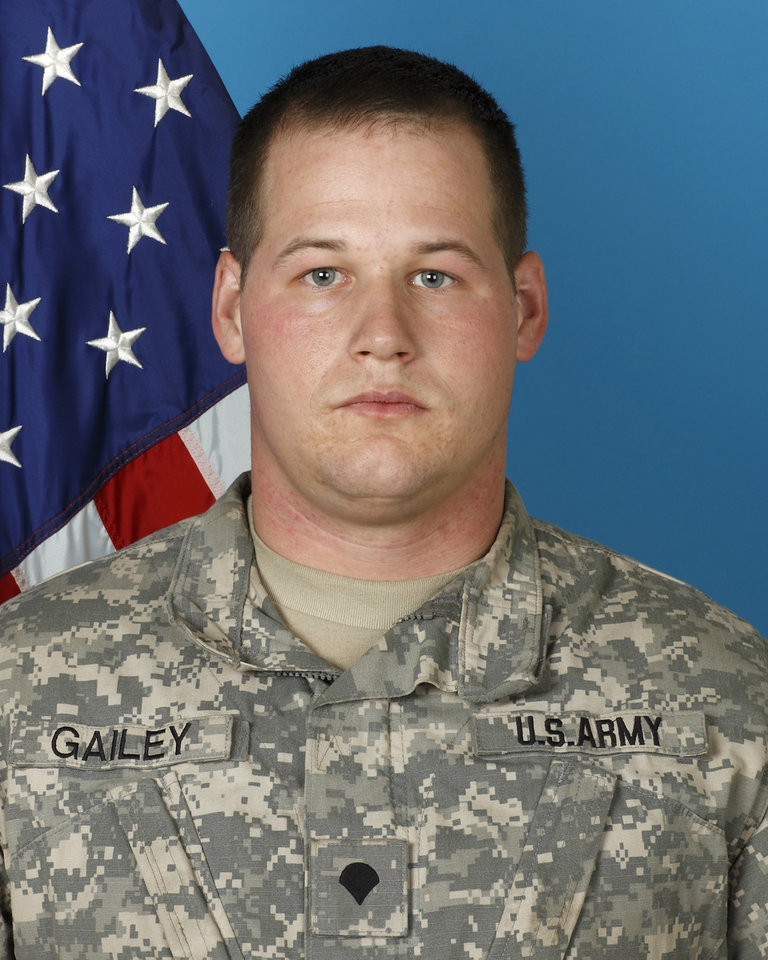 Photo - In this undated photo provided by the Oklahoma National Guard, 26-year-old Spc. Christopher Gailey of Ochelata, Okla., is shown. The U.S. Department of Defense announced Wednesday that Gailey and 19-year-old Pfc. Sarina Butcher of Checotah, Okla., died Tuesday when their vehicle was attacked with an improvised explosive device in Paktia province. (AP Photo/Oklahoma National Guard) ORG XMIT: OKSO202