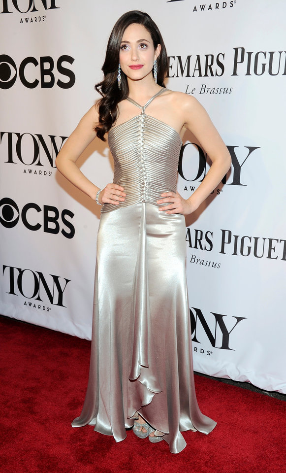 Photo - Emmy Rossum arrives at the 68th annual Tony Awards at Radio City Music Hall on Sunday, June 8, 2014, in New York. (Photo by Charles Sykes/Invision/AP)