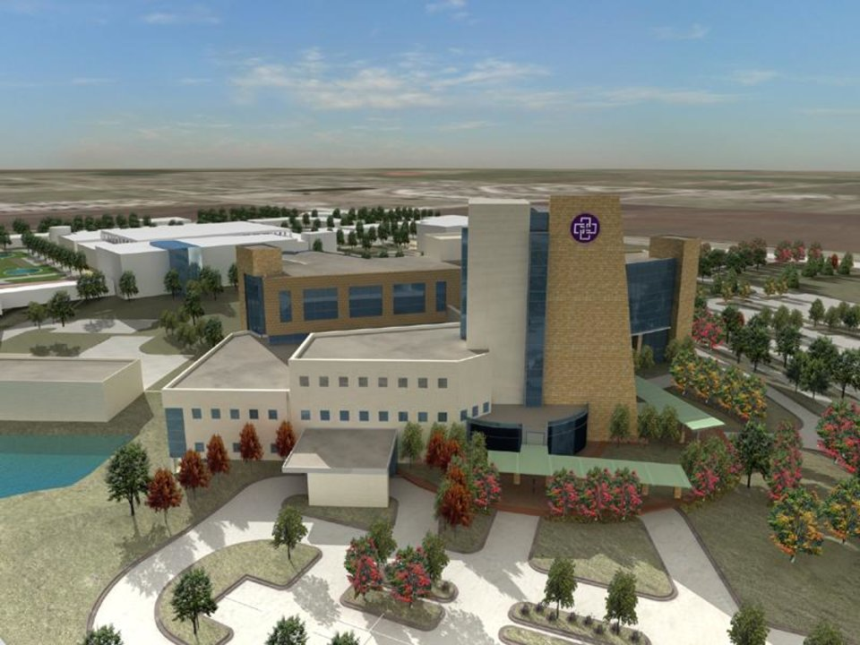 Photo - This is a drawing of what Norman Regional Hospital's Healthplex will look like when the hospital and physicians' building are completed. DRAWING PROVIDED ORG XMIT: 0711201531154660