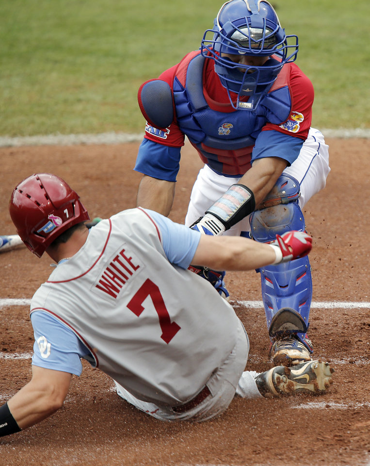 Oklahoma's Max White (7) scores a run against Kansas' Ka'iana Eldredge (22)  in the Big 12 Championship baseball game between the University of Kansas Jayhawks (KU) and the University of Oklahoma Sooners (OU) at the Chickasaw Bircktown Ballpark on Sunday, May 26, 2013 in Oklahoma City, Okla.  Photo by Chris Landsberger, The Oklahoman