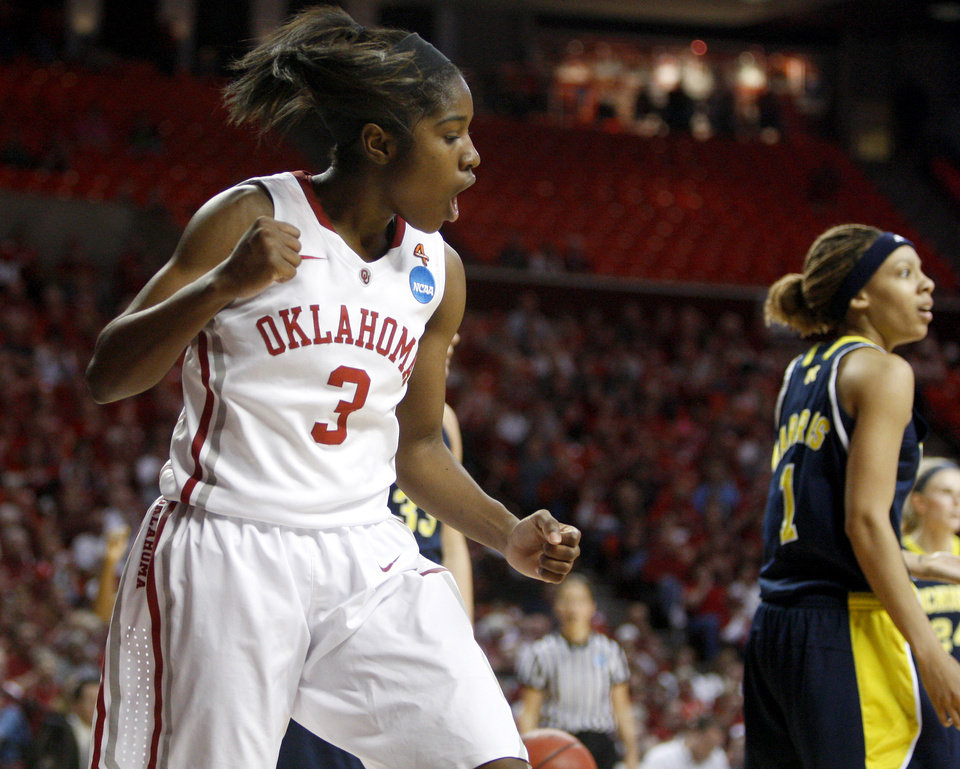 Oklahoma\'s Aaryn Ellenberg (3) celebrates during a first round game of the NCAA women\'s basketball tournament between the University of Oklahoma Sooners and the Michigan Wolverines at Lloyd Noble Center in Norman, Okla., Sunday, March 18, 2012. Oklahoma won 88-67. Photo by Bryan Terry, The Oklahoman