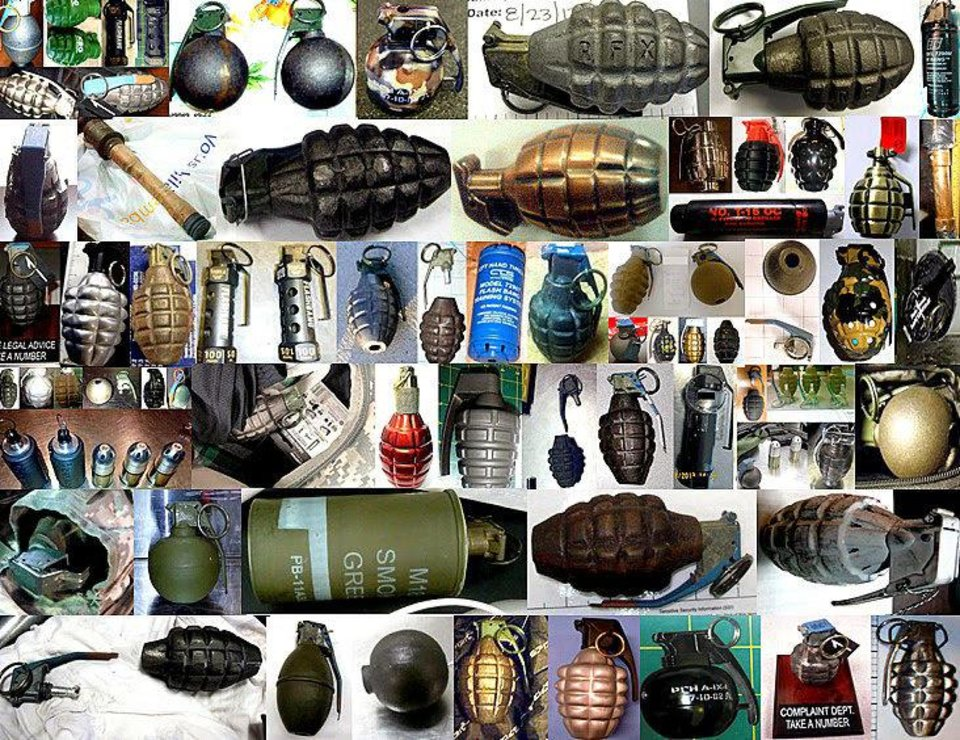Photo - Pictured, a collage of grenades confiscated at U.S. airports in 2013. The majority of these grenades were inert, replica, or novelty items, but a few were live smoke, flare, riot, and flash bang grenades, which can pose major safety issues to aircraft and also violate Federal Aviation Administration hazmat regulations. Real or fake, grenades are banned from carry-on and checked baggage.   - TSA