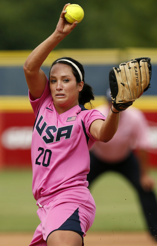 Photo - Valerie Arioto (20) pitches for the United States during a game in the World Cup of Softball between the USA and Puerto Rico at ASA Hall of Fame Stadium in Oklahoma City, Sunday, July 14, 2013. Team USA won, 10-3 in five innings. Photo by Nate Billings, The Oklahoman