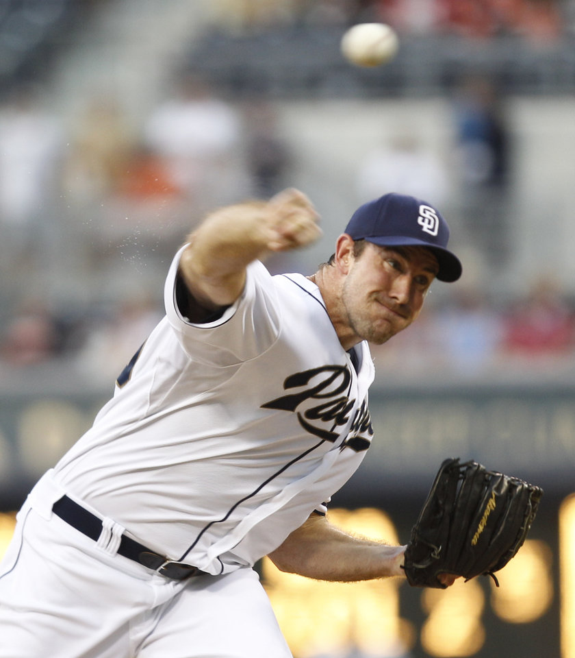 San Diego Padres starting pitcher Ross Ohlendorf works against the San Francisco Giants during the first inning of a baseball game Friday, Aug. 17, 2012 in San Diego. (AP Photo/Lenny Ignelzi)
